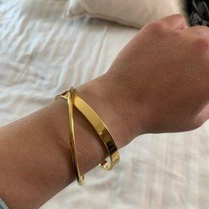 Double Looped Gold Bangle Bracelet